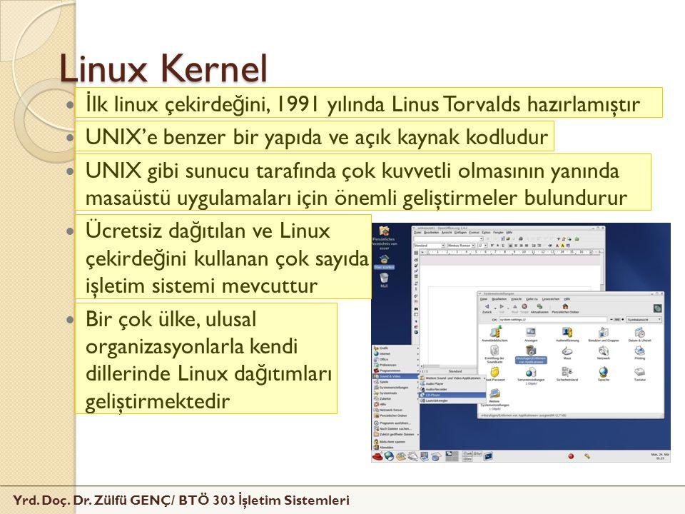 Yrd. Doç. Dr. Zülfü GENÇ/ BTÖ 303 İ şletim Sistemleri Linux Kernel İ lk linux çekirde ğ ini, 1991 yılında Linus Torvalds hazırlamıştır UNIX'e benzer b