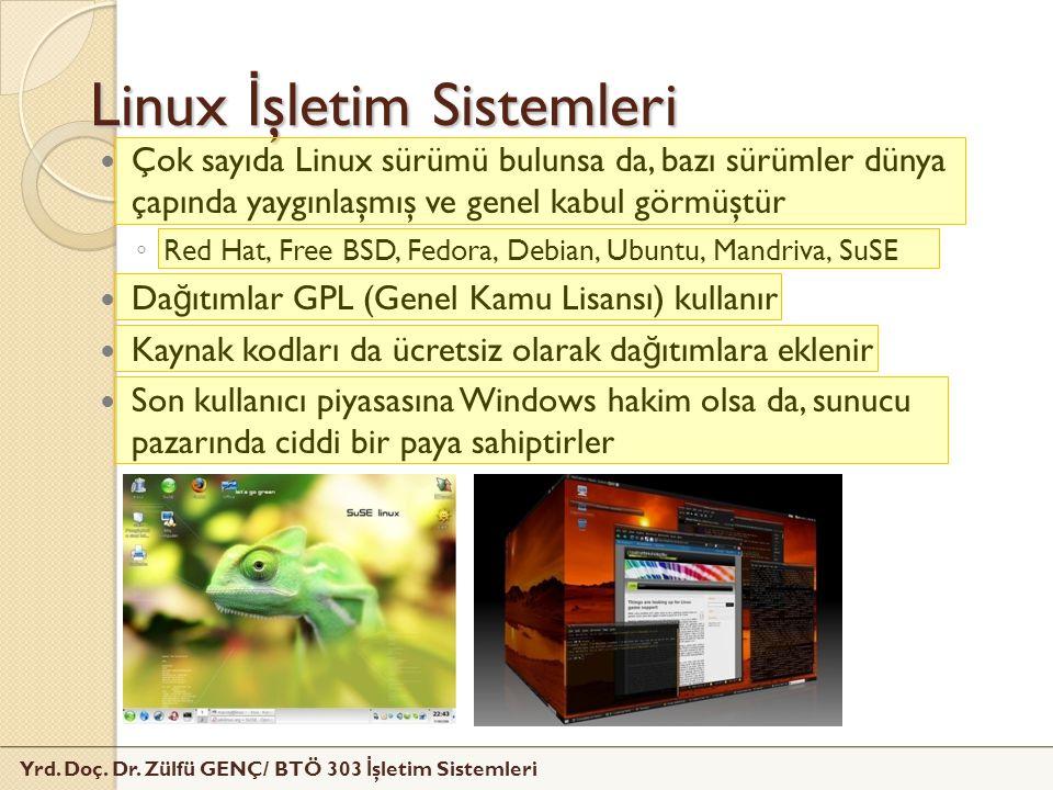Yrd. Doç. Dr. Zülfü GENÇ/ BTÖ 303 İ şletim Sistemleri Linux İ şletim Sistemleri Çok sayıda Linux sürümü bulunsa da, bazı sürümler dünya çapında yaygın
