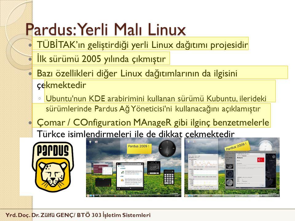 Yrd. Doç. Dr. Zülfü GENÇ/ BTÖ 303 İ şletim Sistemleri Pardus: Yerli Malı Linux TÜB İ TAK'ın geliştirdi ğ i yerli Linux da ğ ıtımı projesidir İ lk sürü