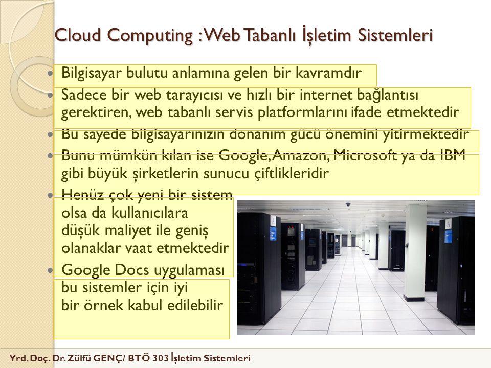 Yrd. Doç. Dr. Zülfü GENÇ/ BTÖ 303 İ şletim Sistemleri Cloud Computing : Web Tabanlı İ şletim Sistemleri Bilgisayar bulutu anlamına gelen bir kavramdır