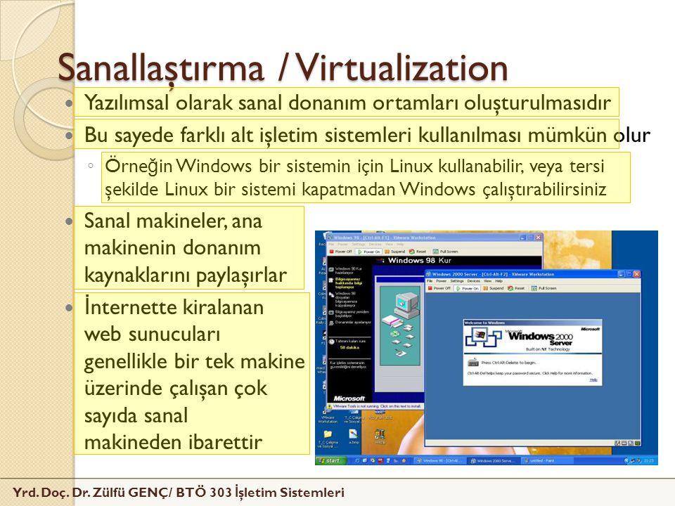 Yrd. Doç. Dr. Zülfü GENÇ/ BTÖ 303 İ şletim Sistemleri Sanallaştırma / Virtualization Yazılımsal olarak sanal donanım ortamları oluşturulmasıdır Bu say
