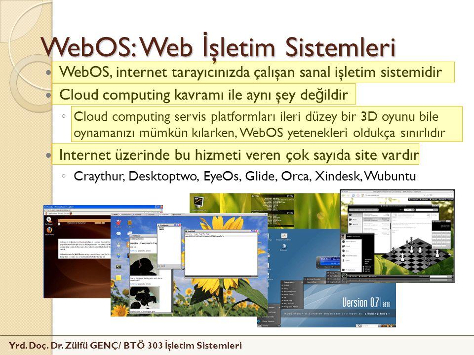 Yrd. Doç. Dr. Zülfü GENÇ/ BTÖ 303 İ şletim Sistemleri WebOS: Web İ şletim Sistemleri WebOS, internet tarayıcınızda çalışan sanal işletim sistemidir Cl