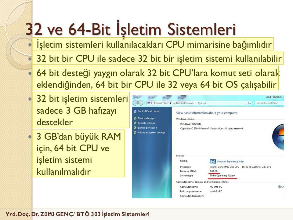Yrd. Doç. Dr. Zülfü GENÇ/ BTÖ 303 İ şletim Sistemleri 32 ve 64-Bit İ şletim Sistemleri İ şletim sistemleri kullanılacakları CPU mimarisine ba ğ ımlıdı