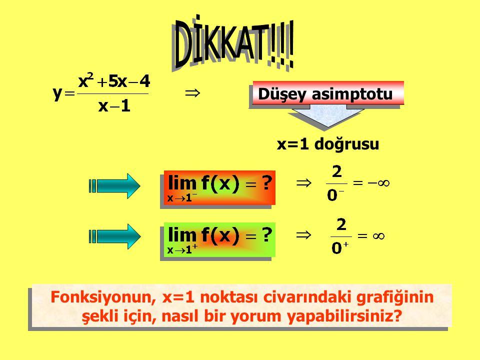  Düşey asimptotu x=1 doğrusu   Fonksiyonun, x=1 noktası civarındaki grafiğinin şekli için, nasıl bir yorum yapabilirsiniz? Fonksiyonun, x=1 noktası