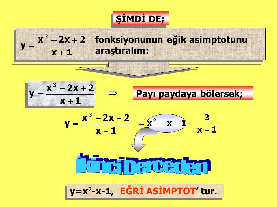 ŞİMDİ DE; fonksiyonunun eğik asimptotunu araştıralım:  Payı paydaya bölersek; y=x 2 -x-1, EĞRİ ASİMPTOT' tur.