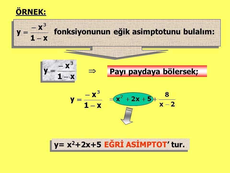 ÖRNEK: fonksiyonunun eğik asimptotunu bulalım:  Payı paydaya bölersek; y= x 2 +2x+5 EĞRİ ASİMPTOT' tur. y= x 2 +2x+5 EĞRİ ASİMPTOT' tur.
