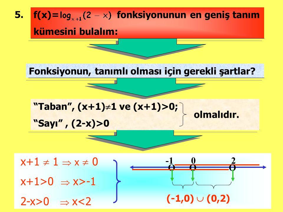 """5. Fonksiyonun, tanımlı olması için gerekli şartlar? x+1  1  x  0 x+1>0  x>-1 2-x>0  x<2 f(x)= fonksiyonunun en geniş tanım kümesini bulalım: """"Ta"""