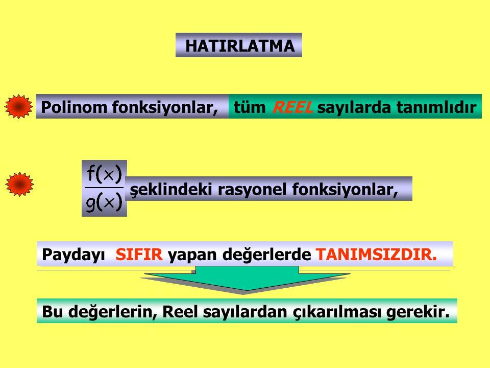 HATIRLATMA Polinom fonksiyonlar, şeklindeki rasyonel fonksiyonlar, tüm REEL sayılarda tanımlıdır Paydayı SIFIR yapan değerlerde TANIMSIZDIR. Bu değerl