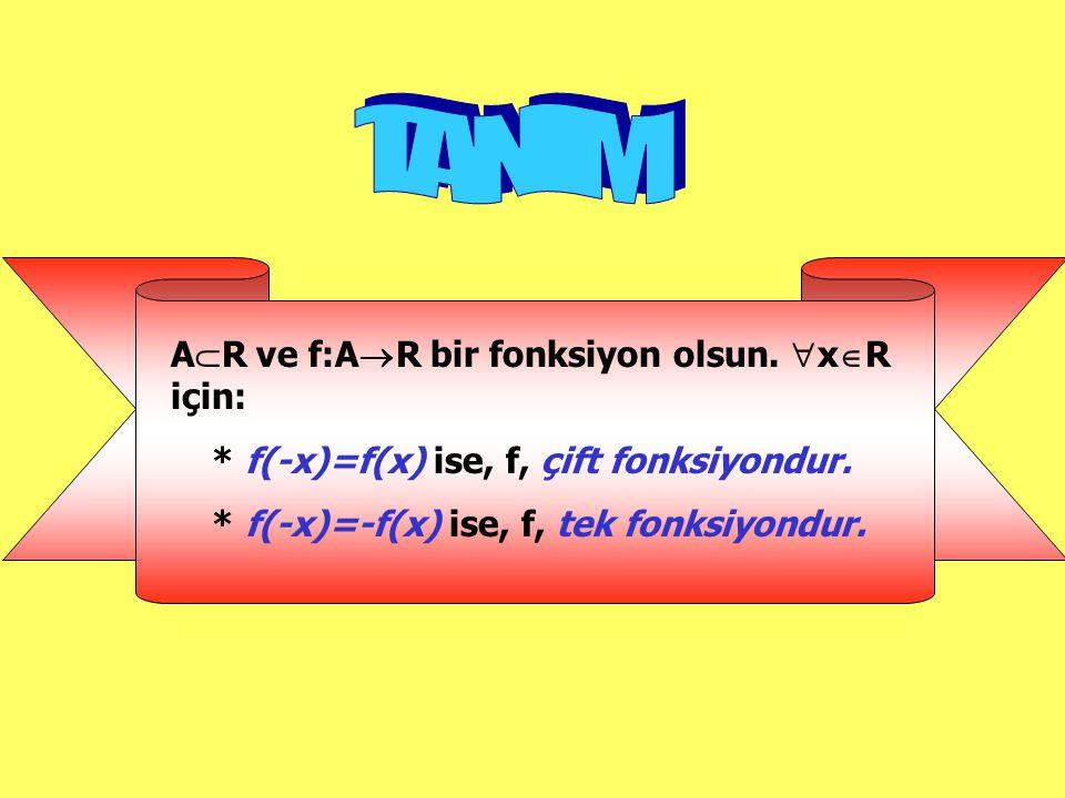 A  R ve f:A  R bir fonksiyon olsun. xRxR için: * f(-x)=f(x) ise, f, çift fonksiyondur. * f(-x)=-f(x) ise, f, tek fonksiyondur.