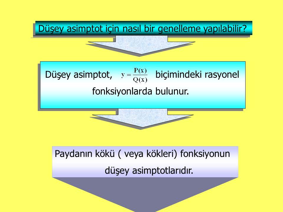 Düşey asimptot için nasıl bir genelleme yapılabilir? Düşey asimptot, biçimindeki rasyonel fonksiyonlarda bulunur. Paydanın kökü ( veya kökleri) fonksi