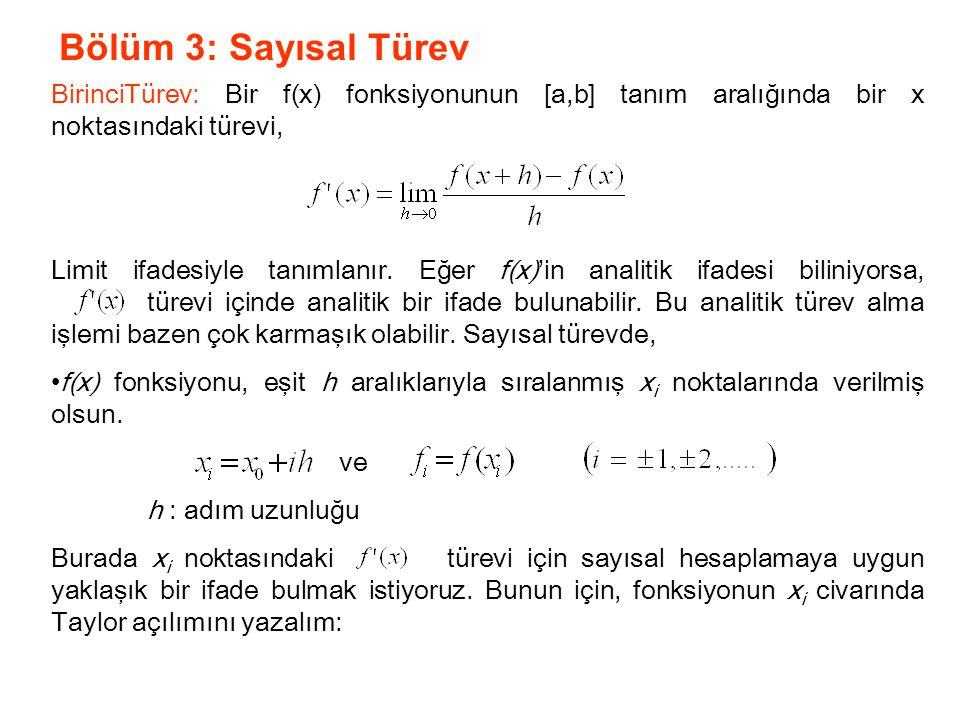 Bölüm 3: Sayısal Türev BirinciTürev: Bir f(x) fonksiyonunun [a,b] tanım aralığında bir x noktasındaki türevi, Limit ifadesiyle tanımlanır. Eğer f(x)'i