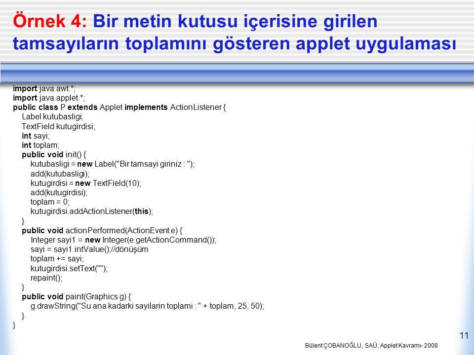 Bülent ÇOBANOĞLU, SAÜ, Applet Kavramı- 2008 11 Örnek 4: Bir metin kutusu içerisine girilen tamsayıların toplamını gösteren applet uygulaması import ja