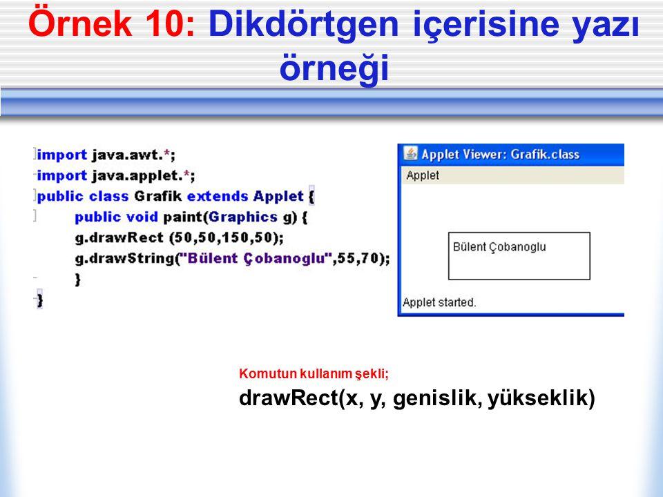 Örnek 10: Dikdörtgen içerisine yazı örneği Komutun kullanım şekli; drawRect(x, y, genislik, yükseklik)