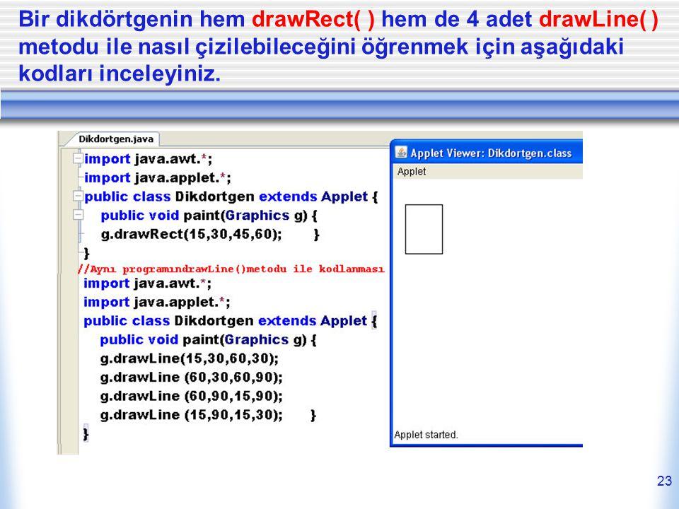 Bir dikdörtgenin hem drawRect( ) hem de 4 adet drawLine( ) metodu ile nasıl çizilebileceğini öğrenmek için aşağıdaki kodları inceleyiniz. 23
