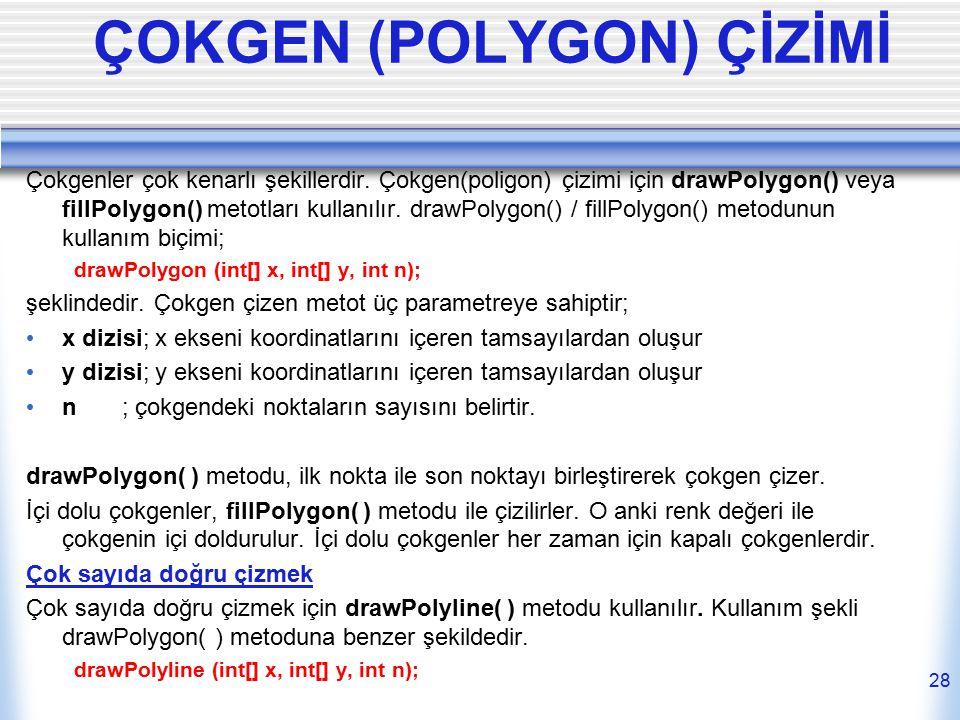 ÇOKGEN (POLYGON) ÇİZİMİ Çokgenler çok kenarlı şekillerdir. Çokgen(poligon) çizimi için drawPolygon() veya fillPolygon() metotları kullanılır. drawPoly