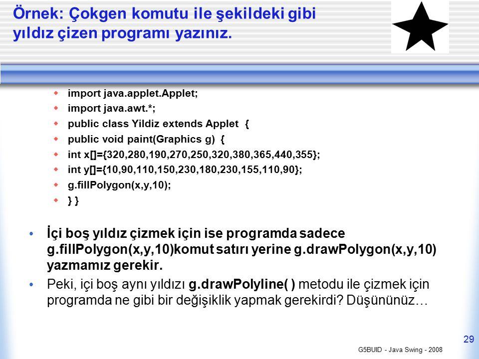 Örnek: Çokgen komutu ile şekildeki gibi yıldız çizen programı yazınız.  import java.applet.Applet;  import java.awt.*;  public class Yildiz extends