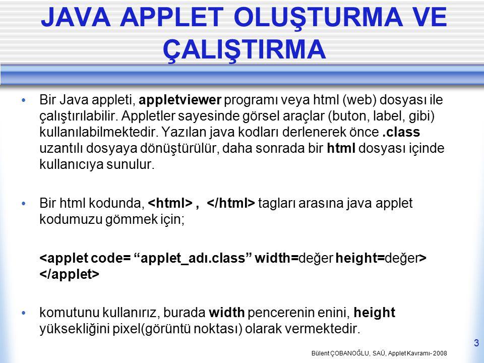 Bülent ÇOBANOĞLU, SAÜ, Applet Kavramı- 2008 3 JAVA APPLET OLUŞTURMA VE ÇALIŞTIRMA Bir Java appleti, appletviewer programı veya html (web) dosyası ile