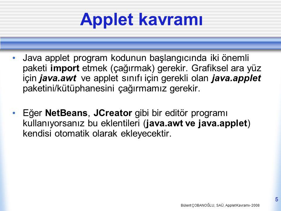 Bülent ÇOBANOĞLU, SAÜ, Applet Kavramı- 2008 5 Applet kavramı Java applet program kodunun başlangıcında iki önemli paketi import etmek (çağırmak) gerek