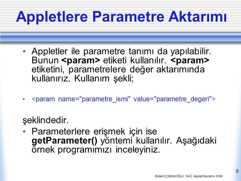 Bülent ÇOBANOĞLU, SAÜ, Applet Kavramı- 2008 8 Appletlere Parametre Aktarımı Appletler ile parametre tanımı da yapılabilir. Bunun etiketi kullanılır. e