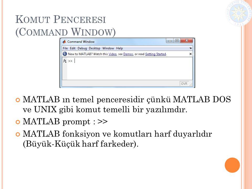 K OMUT P ENCERESI (C OMMAND W INDOW ) MATLAB ın temel penceresidir çünkü MATLAB DOS ve UNIX gibi komut temelli bir yazılımdır. MATLAB prompt : >> MATL