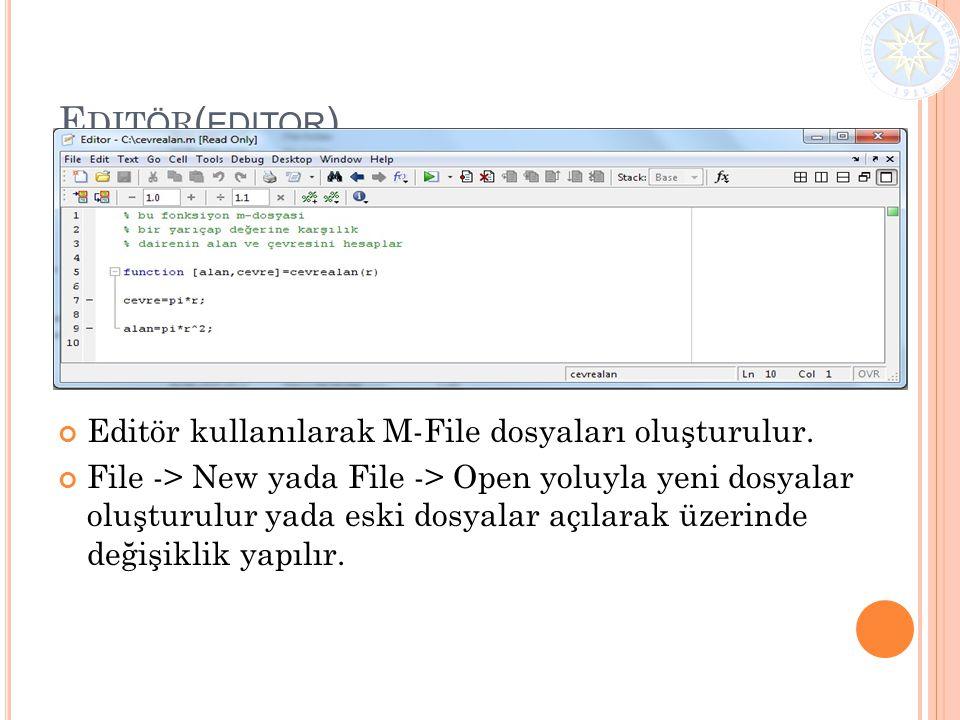E DIT Ö R ( EDITOR ) Editör kullanılarak M-File dosyaları oluşturulur. File -> New yada File -> Open yoluyla yeni dosyalar oluşturulur yada eski dosya