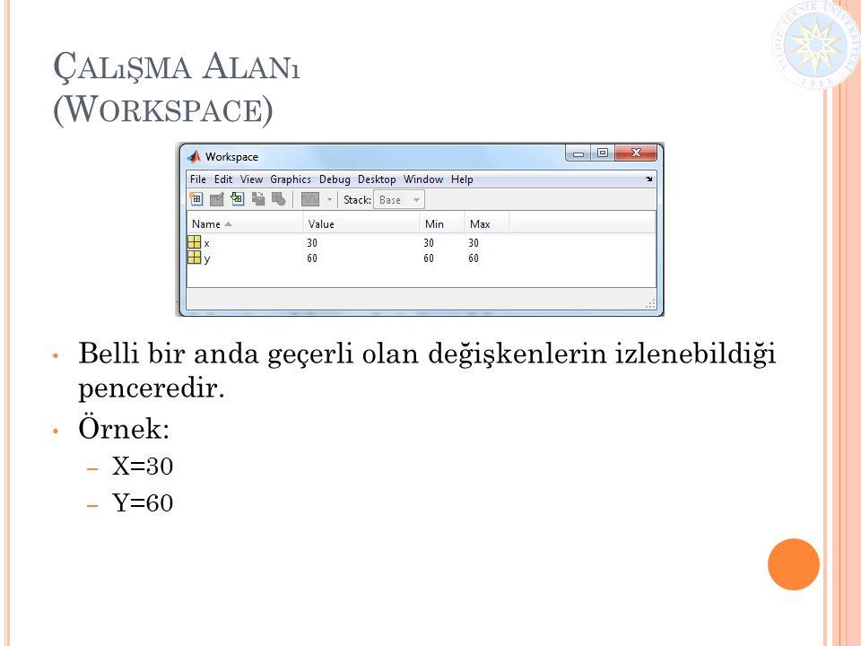 Ç ALıŞMA A LANı (W ORKSPACE ) Belli bir anda geçerli olan değişkenlerin izlenebildiği penceredir. Örnek: – X=30 – Y=60