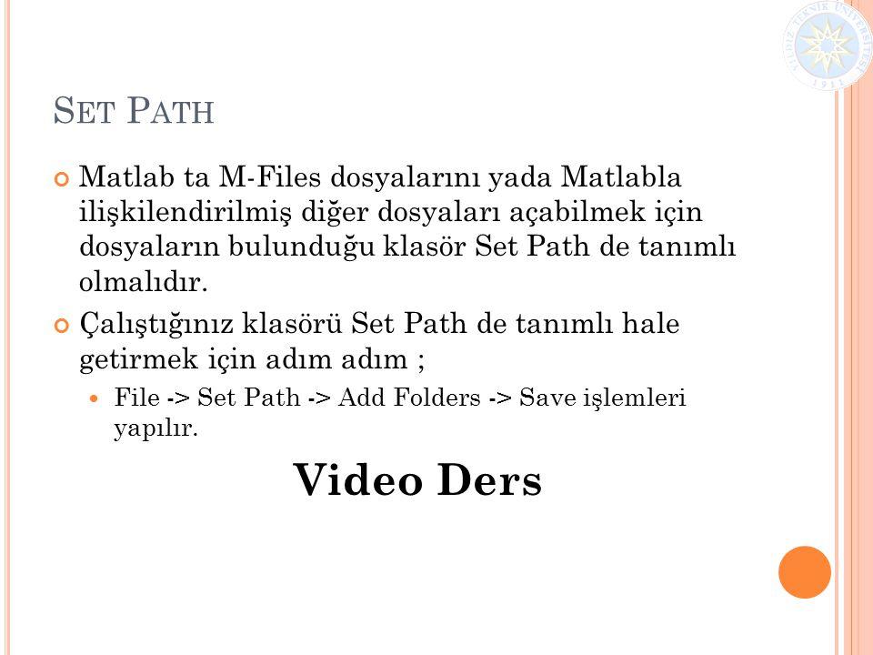 S ET P ATH Matlab ta M-Files dosyalarını yada Matlabla ilişkilendirilmiş diğer dosyaları açabilmek için dosyaların bulunduğu klasör Set Path de tanıml