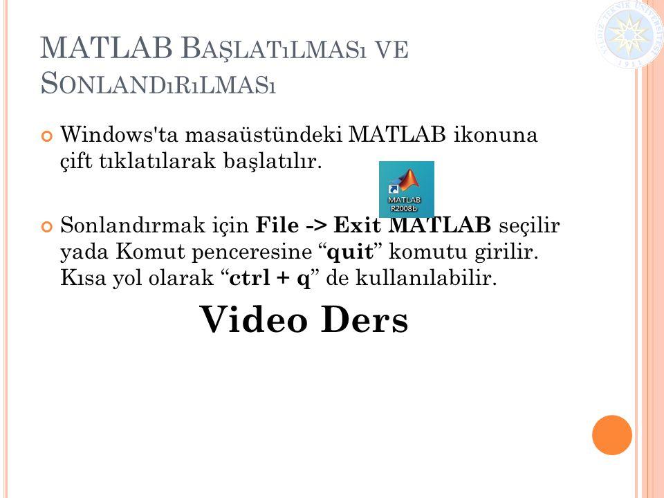 MATLAB B AŞLATıLMASı VE S ONLANDıRıLMASı Windows'ta masaüstündeki MATLAB ikonuna çift tıklatılarak başlatılır. Sonlandırmak için File -> Exit MATLAB s