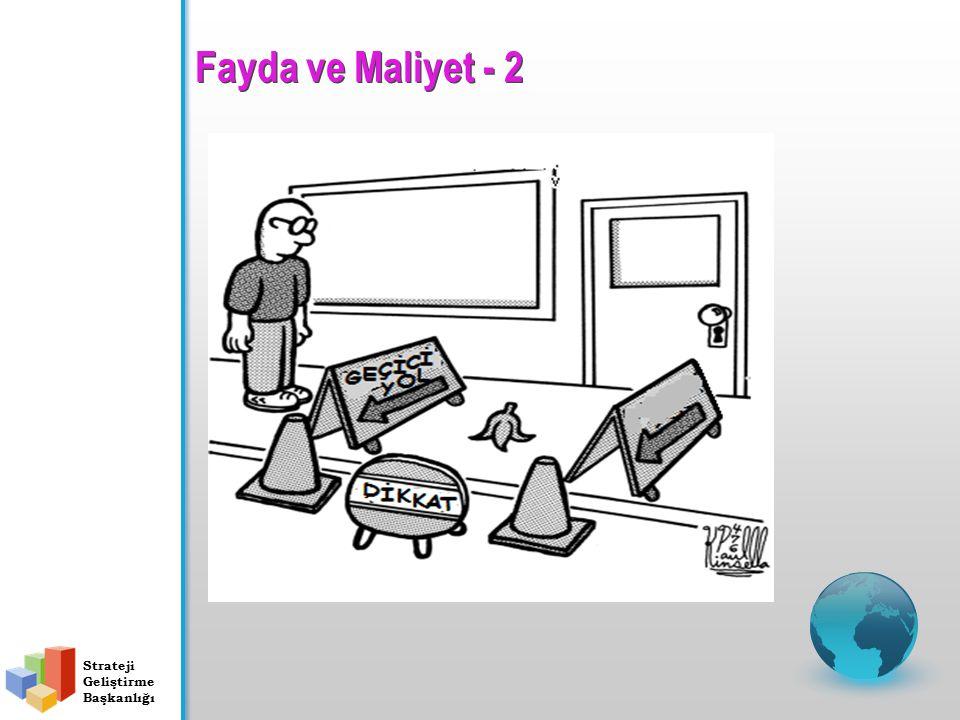 Fayda ve Maliyet - 1 Strateji Geliştirme Başkanlığı Maliyetler Faydalar Risk İç kontrolün maliyeti elde edilen faydayı aşmamalıdır.