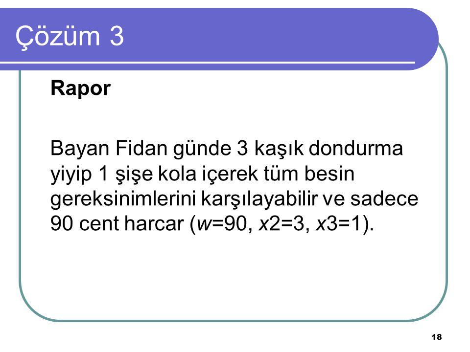 18 Çözüm 3 Rapor Bayan Fidan günde 3 kaşık dondurma yiyip 1 şişe kola içerek tüm besin gereksinimlerini karşılayabilir ve sadece 90 cent harcar (w=90, x2=3, x3=1).