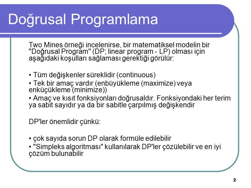 2 Doğrusal Programlama Two Mines örneği incelenirse, bir matematiksel modelin bir Doğrusal Program (DP; linear program - LP) olması için aşağıdaki koşulları sağlaması gerektiği görülür: Tüm değişkenler süreklidir (continuous) Tek bir amaç vardır (enbüyükleme (maximize) veya enküçükleme (minimize)) Amaç ve kısıt fonksiyonları doğrusaldır.