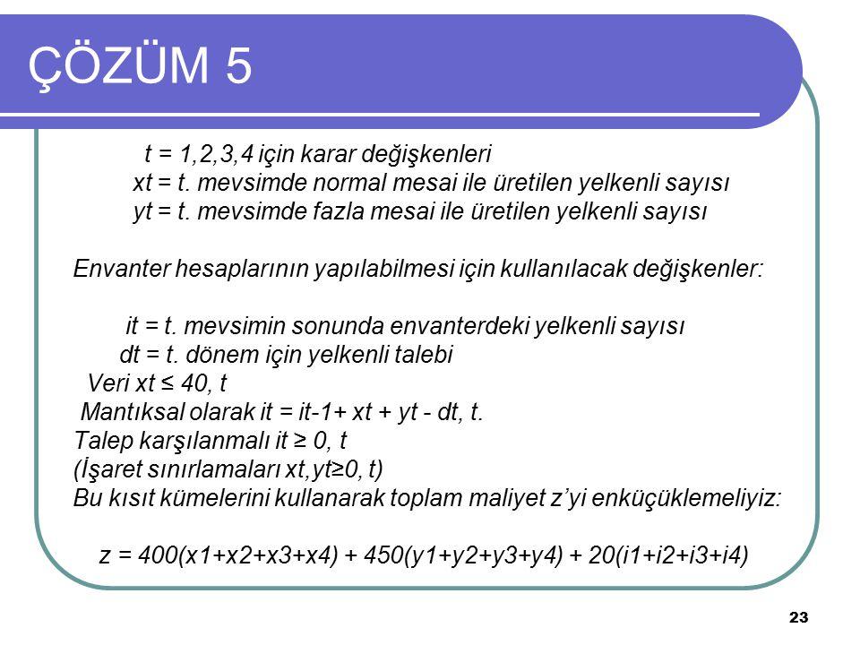 23 ÇÖZÜM 5 t = 1,2,3,4 için karar değişkenleri xt = t. mevsimde normal mesai ile üretilen yelkenli sayısı yt = t. mevsimde fazla mesai ile üretilen ye