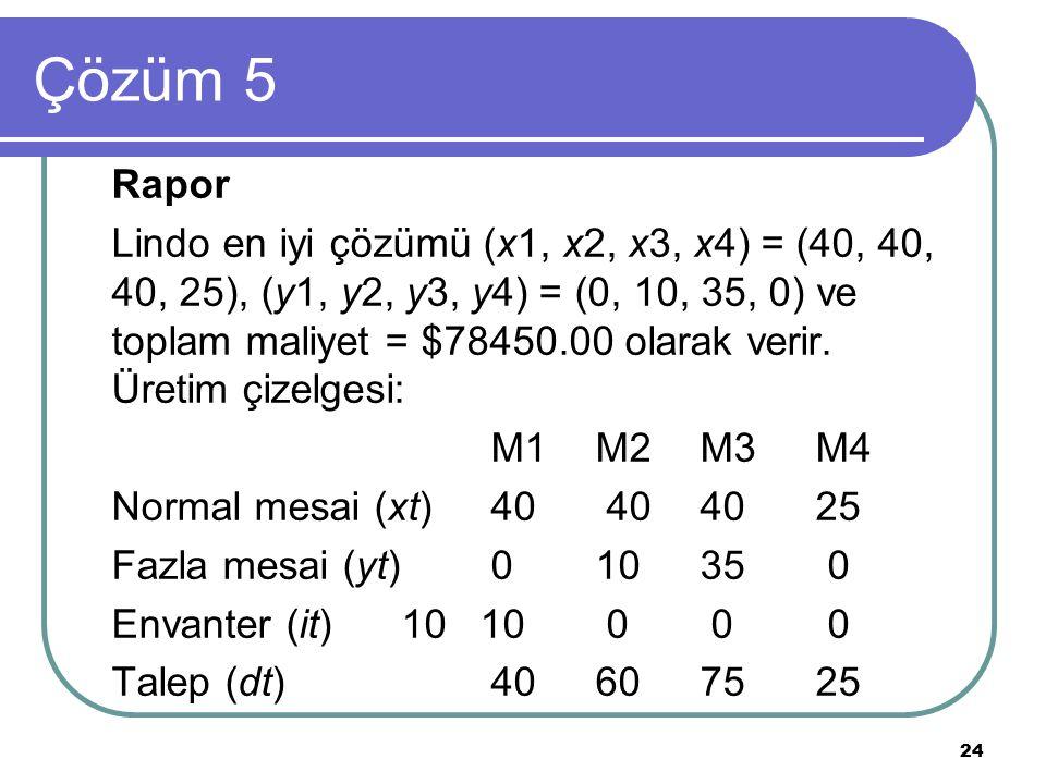 24 Çözüm 5 Rapor Lindo en iyi çözümü (x1, x2, x3, x4) = (40, 40, 40, 25), (y1, y2, y3, y4) = (0, 10, 35, 0) ve toplam maliyet = $78450.00 olarak verir