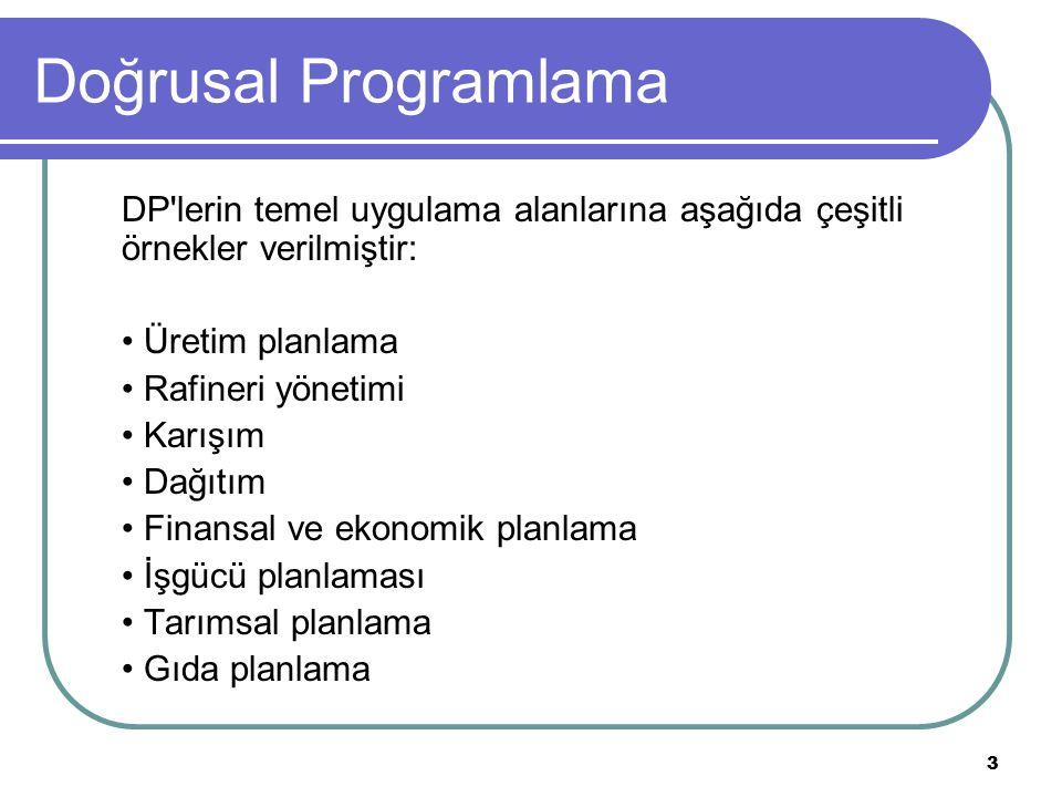 3 Doğrusal Programlama DP lerin temel uygulama alanlarına aşağıda çeşitli örnekler verilmiştir: Üretim planlama Rafineri yönetimi Karışım Dağıtım Finansal ve ekonomik planlama İşgücü planlaması Tarımsal planlama Gıda planlama