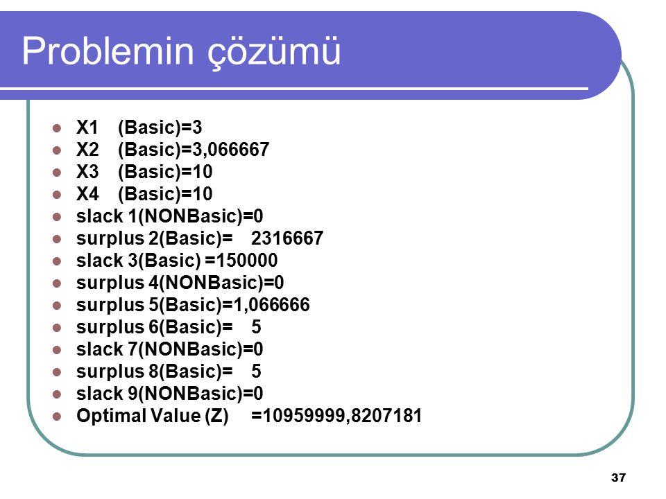 37 Problemin çözümü X1(Basic)=3 X2(Basic)=3,066667 X3(Basic)=10 X4(Basic)=10 slack 1(NONBasic)=0 surplus 2(Basic)=2316667 slack 3(Basic) =150000 surpl