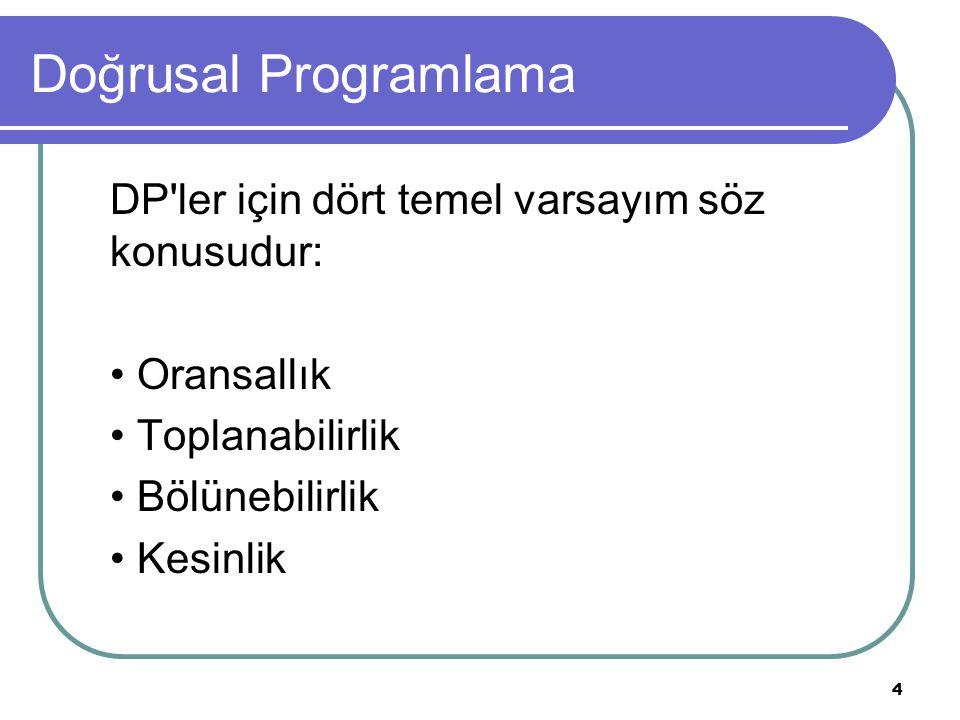 4 Doğrusal Programlama DP'ler için dört temel varsayım söz konusudur: Oransallık Toplanabilirlik Bölünebilirlik Kesinlik