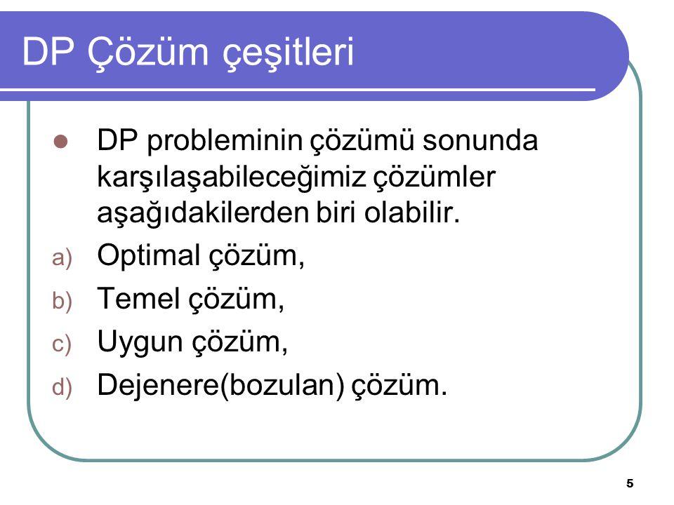 5 DP Çözüm çeşitleri DP probleminin çözümü sonunda karşılaşabileceğimiz çözümler aşağıdakilerden biri olabilir. a) Optimal çözüm, b) Temel çözüm, c) U