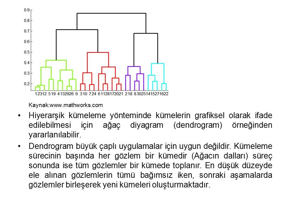 Kaynak:www.mathworks.com Hiyerarşik kümeleme yönteminde kümelerin grafiksel olarak ifade edilebilmesi için ağaç diyagram (dendrogram) örneğinden yararlanılabilir.
