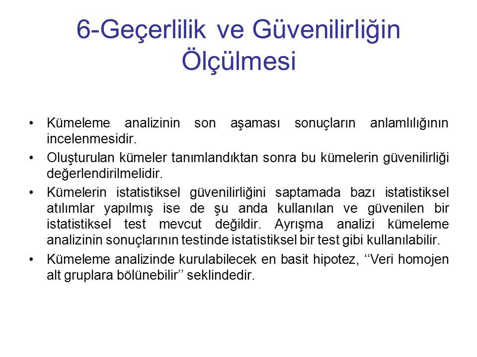 6-Geçerlilik ve Güvenilirliğin Ölçülmesi Kümeleme analizinin son aşaması sonuçların anlamlılığının incelenmesidir.