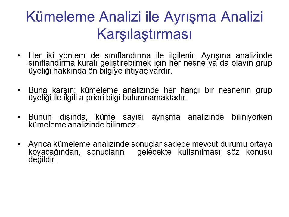 Kümeleme Analizi ile Ayrışma Analizi Karşılaştırması Her iki yöntem de sınıflandırma ile ilgilenir.