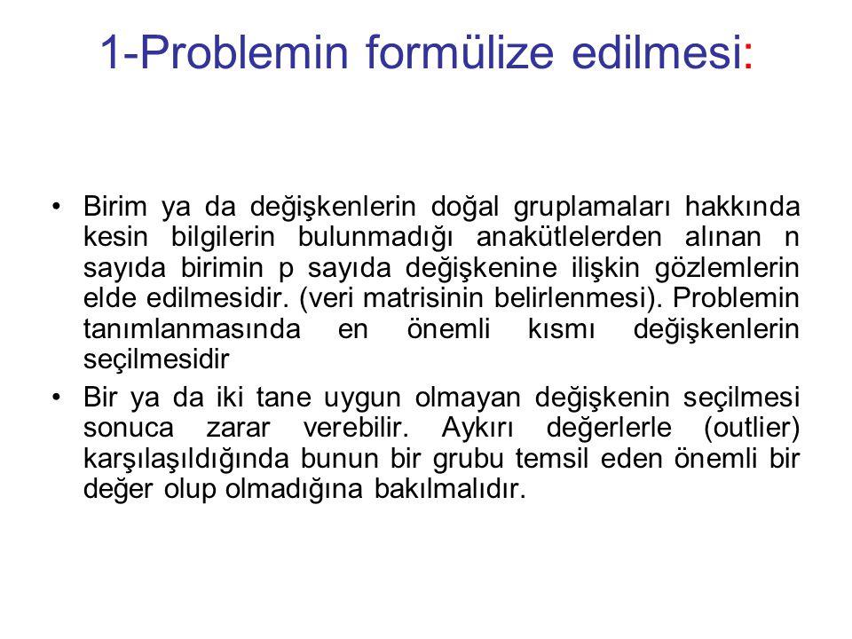 1-Problemin formülize edilmesi: Birim ya da değişkenlerin doğal gruplamaları hakkında kesin bilgilerin bulunmadığı anakütlelerden alınan n sayıda birimin p sayıda değişkenine ilişkin gözlemlerin elde edilmesidir.
