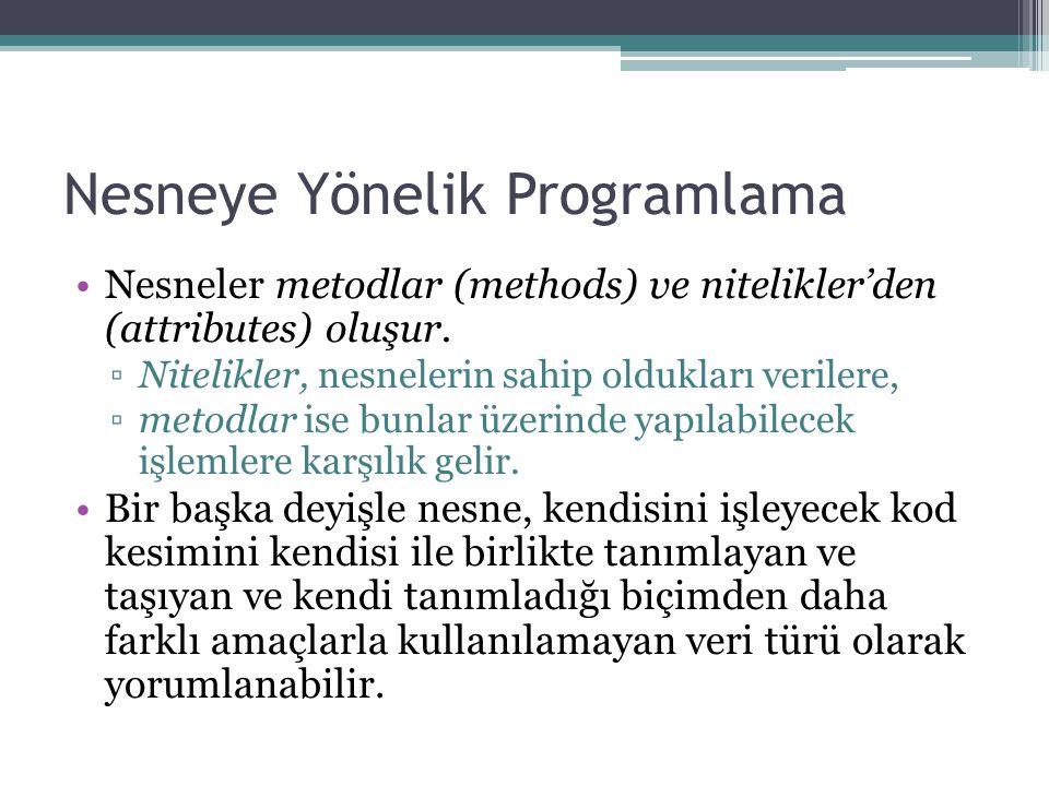 Nesneye Yönelik Programlama Nesneler metodlar (methods) ve nitelikler'den (attributes) oluşur. ▫Nitelikler, nesnelerin sahip oldukları verilere, ▫meto