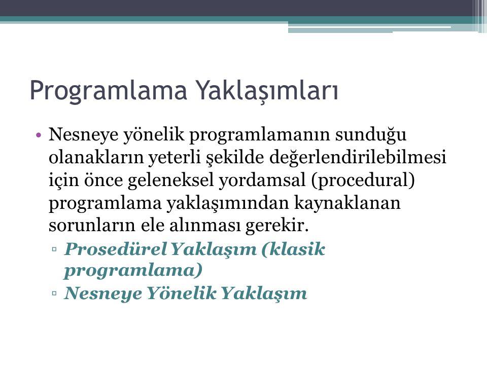Programlama Yaklaşımları Nesneye yönelik programlamanın sunduğu olanakların yeterli şekilde değerlendirilebilmesi için önce geleneksel yordamsal (proc