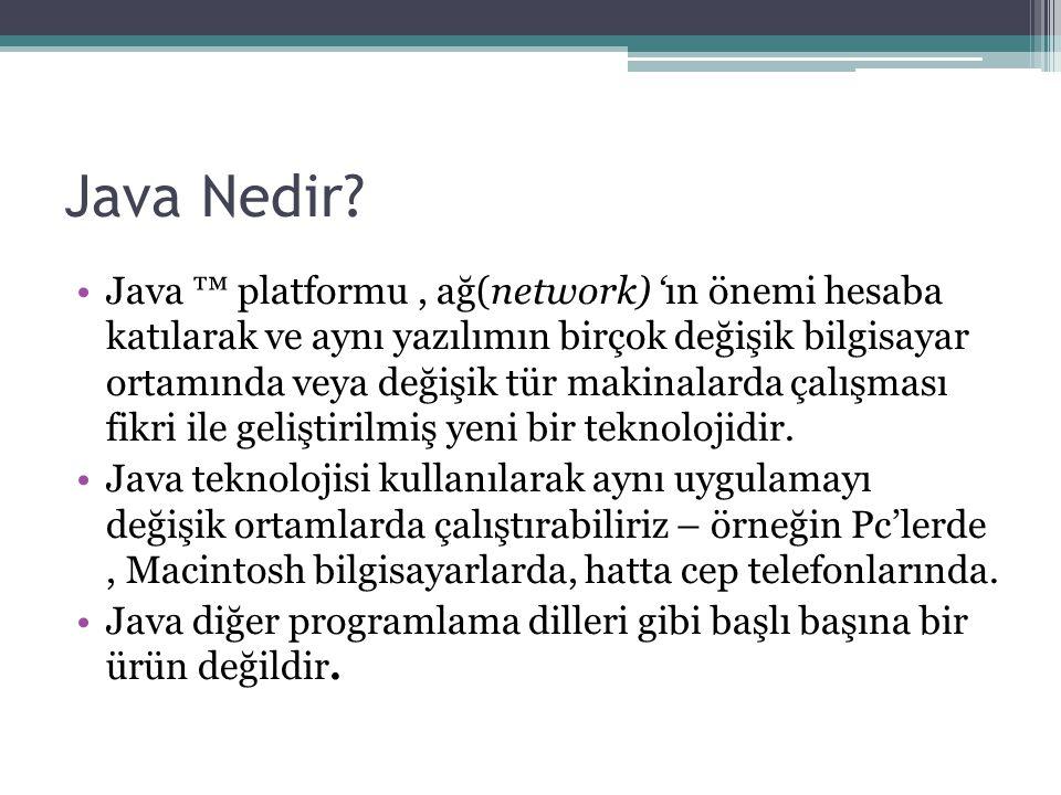Java Nedir? Java ™ platformu, ağ(network) 'ın önemi hesaba katılarak ve aynı yazılımın birçok değişik bilgisayar ortamında veya değişik tür makinalard