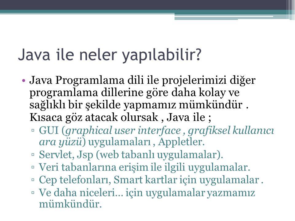 Java ile neler yapılabilir? Java Programlama dili ile projelerimizi diğer programlama dillerine göre daha kolay ve sağlıklı bir şekilde yapmamız mümkü
