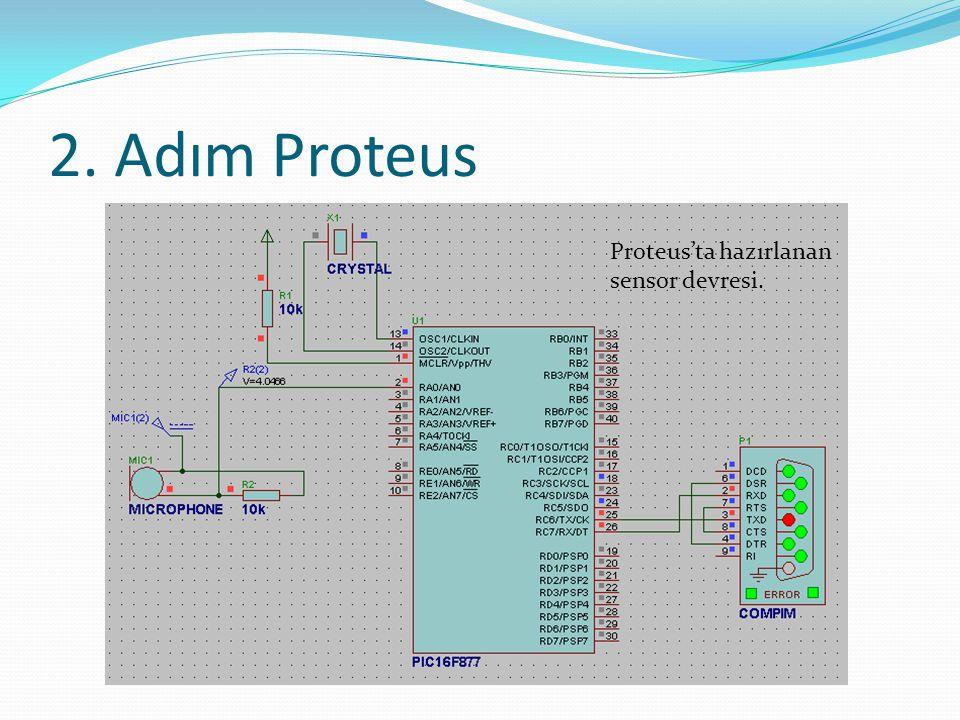 2. Adım Proteus Proteus'ta hazırlanan sensor devresi.