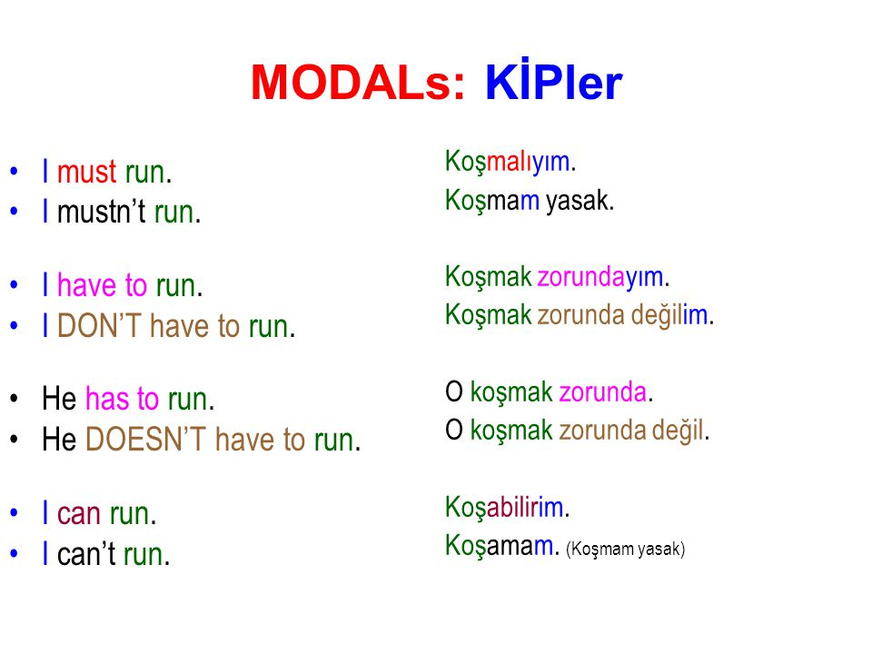 MODALs: KİPler I must run. I mustn't run. I have to run. I DON'T have to run. He has to run. He DOESN'T have to run. I can run. I can't run. Koşmalıyı