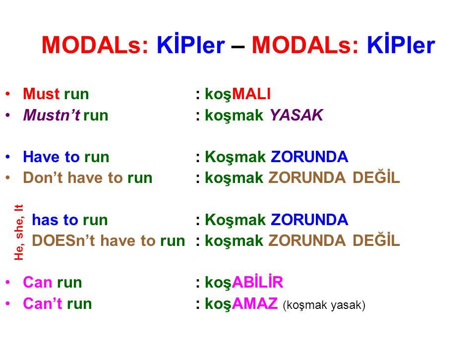 MODALs: KİPler – MODALs: KİPler Must run: koşMALI Mustn't run: koşmak YASAK Have to run: Koşmak ZORUNDA Don't have to run: koşmak ZORUNDA DEĞİL has to