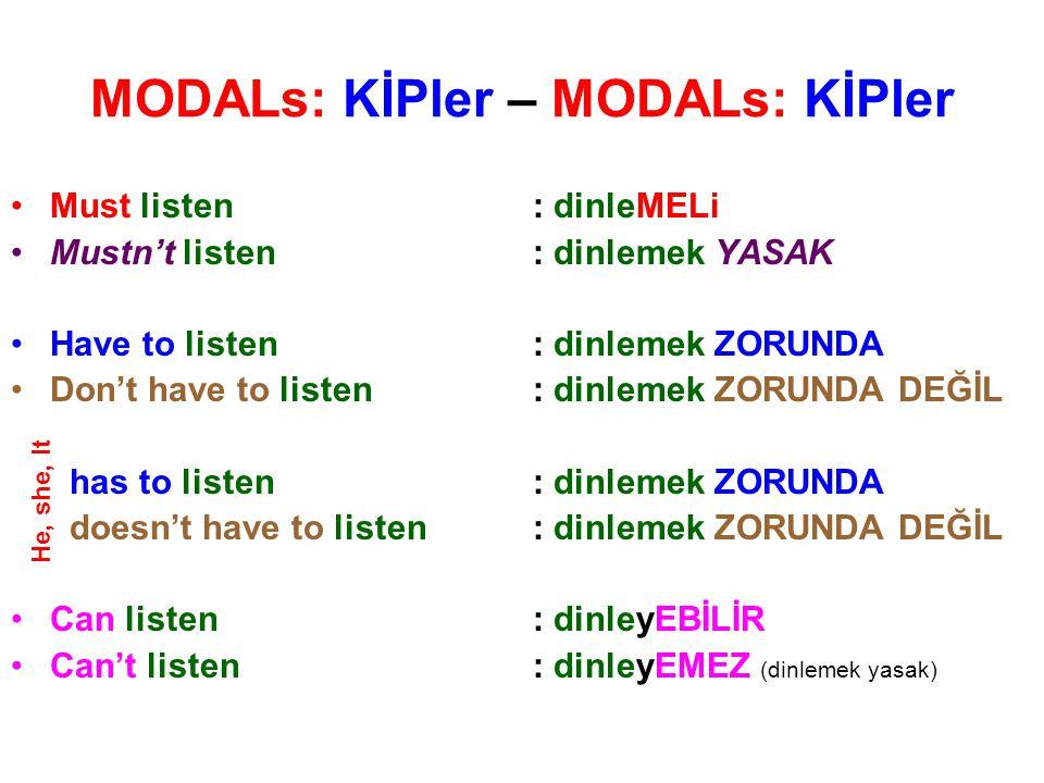 MODALs: KİPler – MODALs: KİPler Must listen: dinleMELi Mustn't listen: dinlemek YASAK Have to listen: dinlemek ZORUNDA Don't have to listen: dinlemek