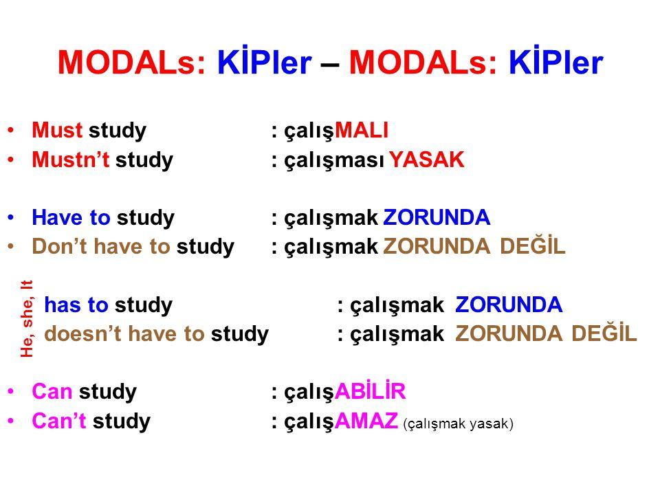 MODALs: KİPler – MODALs: KİPler Must study: çalışMALI Mustn't study: çalışması YASAK Have to study: çalışmak ZORUNDA Don't have to study: çalışmak ZOR